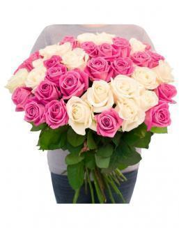 Bouquet of roses: white and pink | Flowers to girlfriend