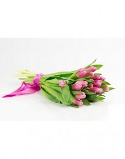 Bouquet of 15 pink tulips | Flowers to girlfriend
