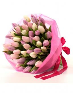Bouquet of 51 pink tulips | Flowers to girlfriend