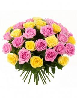 Bouquet mix of 33 pink and yellow roses | Flowers to girlfriend